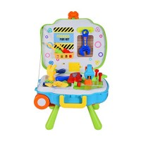 Bieay Kids Workbench Tools 3-in-1 Construction Toy Workbench&Suitcase&Backpack Tool Set for Toddlers with Hammer Wrench and Screwdriver STEM Educational Play Toys Multicolor