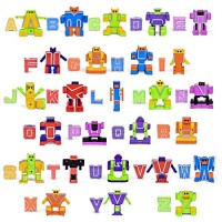 YIISUN ABC Learning Toys Alphabet Robots Preschool Stem Montessori Classroom Teaching Toy for Kids Transforming 26 Pieces with Storage Box