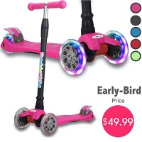 Kick Scooter for Kids 4 Adjustable Height Lean to Steer with PU Light Up