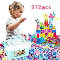 AngelSounds 212 Pieces Toy Blocks Set Colorful 3D Puzzle Building Playset DIY Interlocking Stem Engineering Toys for Kids Great Gift Girls and Boys