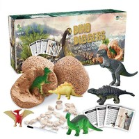 Dinosaur Toys Dino Egg Dig Kit Kids Crafts - Break Open 12 Unique Eggs and Discover Cute Dinosaurs Archaeology Science STEM for Age 3 4 5 6 7 8 Year Old Boys Girls Gifts