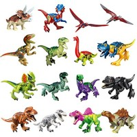 Odowalker Jurassic Dinosaur Toys Assembled Puzzle Small Particle Building Blocks Carnivorous Herbivorous Mini Large Collection 16pcs Removable Chin Wings and Tail for Kids Children Boys G