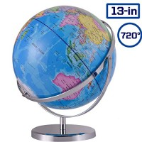 ZUEDA 13 Inch Large Cartography World Globe Geographic 720 Revolution Political of The with Stand for Kids Students & Adults Educational Gift