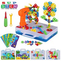 224 Pieces STEM Engineering Toys Electric Drill Puzzle and Button Art Kit DIY Construction Building Blocks Pegboard for 4-8 Year Old Kids Creative Games Preschool Boys & Girls Gift