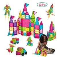 AOKESI Magnetic Toys 128 Pcs Magnet Building Tiles with 2 Cars 3D Blocks Set STEM Preschool Educational Construction Kit for Boys Girls Kids Children Age 3+ Year Old