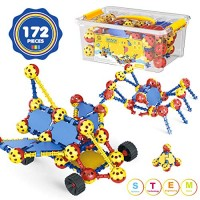 AOKESI STEM Building Toys for Kids 172 PCS Snap Together Kits Engineering Early Learning Blocks Set