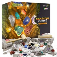 Nature Gear Gemstone Mining Excavation - Discover 15 Precious Gems Adventure Kit Science STEM Learning Kids Activity