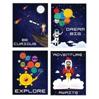 Outer Space Room Decor Wall Posters I Kids Tapestry Solar System Decoration Pack of 4 - 8''x10'' Boys Bedroom Poster Galaxy Themed Science Classroom Art Astronaut Inspirational Astronomy Decorating Stickers