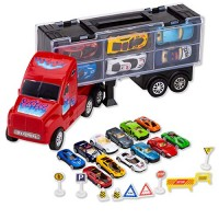 JOYIN Transport Car Carrier Toy Truck Includes 12 Die-cast Toy Cars 10 Accessories; Truck