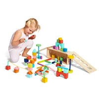 The Block Set by Lovevery Solid Wood Building Blocks and Shapes + Wooden Storage Box 70 Pieces 18 Colors 20+ Activities