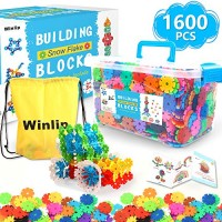 1600 pcs Building Flakes Interlocking Plastic Disc Set Blocks Educational STEM Construction Toy Snow for Preschool Toddlers Girls and Boys by Winlip