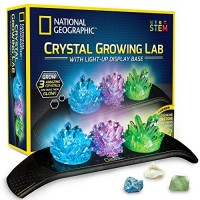 NATIONAL GEOGRAPHIC Crystal Growing Kit - 3 Vibrant Colored Crystals to Grow with Light-Up Display Stand & Guidebook Includes Real Gemstone Specimens Including A Geode Green Fluorite