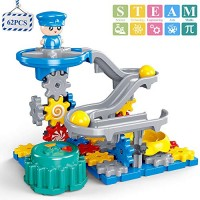 TEMI Police Gear Toys Building Set 62 PCS STEM Marble Run Race Track Motorized Spinning Gears Slide with 3 Balls Interlocking Educational Blocks Gifts for Kids Toddlers Boys and Girls