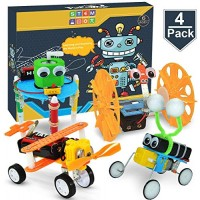 POKONBOY DIY Electric Motor Robotic Kits STEM Toys Science Experiment Engineering Project for Boys and Girls-Doodling Balance Car Reptile Robot Biplane 4 Sets