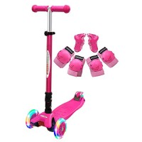 ChromeWheels Scooter for Kids Deluxe Kick Scooters Foldable 4 Adjustable Height 132lbs Weight Limit