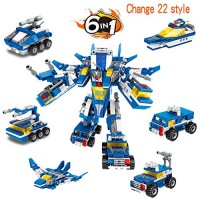 AIVIAI Robot STEM Toy Building Bricks Toys Kit 6 in 1 553 Pieces