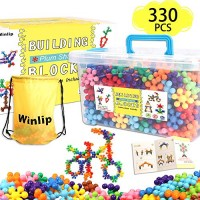 330 pcs Building Blocks Educational Toys Stem Discs Sets Interlocking Solid Plastic for Preschool Toddlers Girls and Boys by Winlip