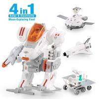 CIRO Star Wars Space Toys STEM Solar Robot Kit 4 in 1 Science Engineer Building Toy for Kids Age 8 and Up Rechargeable into Electricity