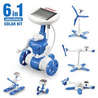 CIRO Solar Robot Science Kit 6-in-1 STEM Learning Building Toys for Kids Powered Propeller Engines Educational Walking Robot Air Boat Windmill Plane