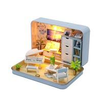Cool Beans Boutique Miniature DIY Dollhouse Kit - Tin Box Style (Blue)