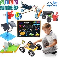 z-horse DIY 5 Set STEM LabScience Kits Toys for Kids Electric Motor Assembly Solar Powered Kit Educational Engineering Experiments Boys & Girls 5 Sets