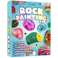Rock Painting Kit for Kids - Arts and Crafts for Girls & Boys Ages 6-12 - Craft Kits Art Set - Supplies for Painting Rocks - Best Tween Paint Gift Ideas for Kids Activities Age 4 5 6 7 8 9 10