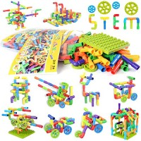 175 Pieces Tube Toy Sensory Toys Pipe Building Blocks Stem Educational Interlocking Construction Engineering Set with Mini Baseplate Wheels Creative for Boys Girls Kids