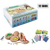 Dino Eggs Dig Kit - Dinosaur Toys for Kids Gifts 12 Unique and Discover Cute Dinosaurs Easter Craft Archaeology Science STEM Best Gift with Games Amusment Boys & Girls