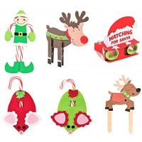 Christmas Holidays Craft Kits Set - Six 6 Reindeer Clothespin Candy Cane Elf Santa Binoculars Flying Puppet & More 5 8 Winter Kid's Crafts Family Activities Bundle 7