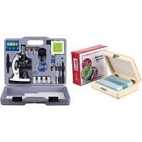 AmScope 120x-1200x 52-pcs Kids Beginner Microscope STEM Kit with Metal Body Plastic Slides + PS25 Prepared Slide Set for Basic Biological Science Education 25