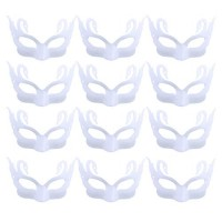 FunPa 12PCS White Mask Half Face Mask DIY Unpainted Masquerade Mask for Mardi Party