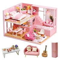 Spilay Dollhouse DIY Miniature Wooden Furniture KitPink Loft Apartment Model Plus with Dust Cover