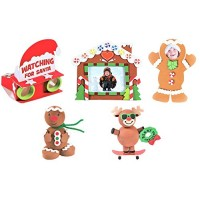 Christmas Holidays Craft Kits - Gingerbread House Picture Frame Magnet Santa Binoculars & More Crafts Activities for Classroom Stocking Stuffers Party Favors Prizes Children xmas Bundle