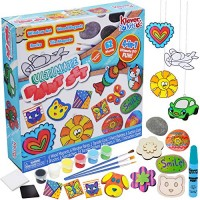 JOYIN Klever Kits Creativity Arts & Crafts Paint Kit - Rock Painting Window Art Mini Tile and Wooden Magnets for Kids Easter Gift Birthday Parties Family Crafts62-Piece