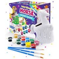 Original Stationery Paint Your Own Horse Money Bank Crafts for Kids Ages 4-8 Includes Gems Paintbrushes & Pottery