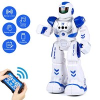 Aukfa Rc Robot Toy for KidsRechargeable Smart Infrared Sensing Toys with Remote and Gesture Control Programmable Intelligent RoboticsWalking Singing Dancing Boys GirlsBlue