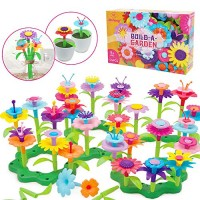 Mochoog STEM Flower Garden Building Toys for Kids Educational Outdoor Gardening Pretend Playset 109 PCS Crafts Toddlers Girls Gifts 3 4 5 6 Years Old Boys