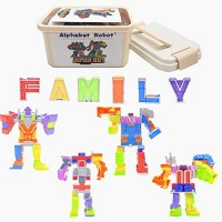 Alphabet Robot 26 Colorful ABC Learning Toys Transforming Letters Combine into 4 Different Robots for Kids