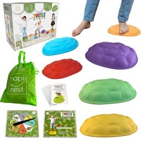 Hapinest Turtle Steps Balance Stepping Stones Obstacle Course Coordination Game for Kids - Indoor