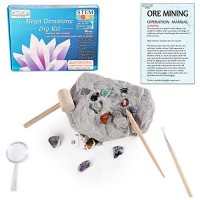 Gemstone Crystal Rock Dig Kit - Science Experiments Toy Great Educational STEM Gift Excavate 20 Real Gems Fossils Treasure Geode Age 4 5 6 7 8 9 10 11 12 Year Old for Kids Boys Girls