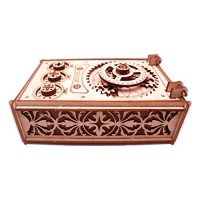 Yamix 3D Wooden Puzzle Mechanical Treasure Box DIY Crafts Kit Assembly Model for Adults Kids Toddlers Brain Teasers Game STEM Toys