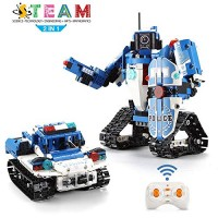 Ingooood STEM Remote Control Building Kits 457 Pieces Building Blocks Toys Top Birthday Gift for Boys and Girls 2 in 1 Remote Control Tank DIY Assembly Building Block Vehicle