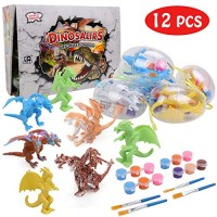 IAMGlobal Dinosaur Painting Kit DIY Arts Crafts and Set 3D Dinosaurs Modeling Craft STEM Educational 12 for Girls Boys