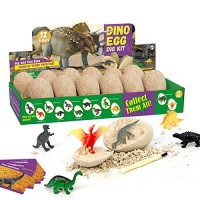Dig Up Dinosaur Fossil EggsBreak Open 12 Unique Eggs and Discover Cute Dinosaurs - Easter Archaeology Science STEM Gift
