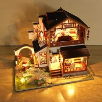 weemoment Miniature Dollhouse DIY Kit 1:24 Wooden Asian Chinese Traditional Mansion with Garden Pool