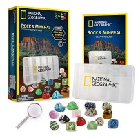 NATIONAL GEOGRAPHIC Rocks and Minerals Education Set 15-Piece Rock Collection Starter Kit with Tigers Eye Rose Quartz Red Jasper More Display Case Identification Guide