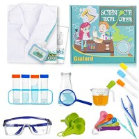 Giaford Kids Deluxe Science Experiments Kit with Lab Coat Role Play Pretend STEM Toys Scientist Costume for Boys and Girls Age 5 6 7 8 9 10 White