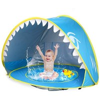 iGeeKid Baby Beach Tent Pool Shark Pop Up Portable Sun Shelter Tent with Pool