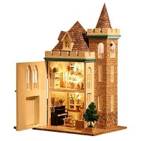 Spilay Dollhouse DIY Miniature Wooden Furniture KitMini Handmade Craft Castle Model Plus with Dust