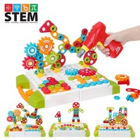 215 Pieces STEM Learning Toys3D Construction Engineering Building Blocks Games 4 In 1 Educational Kids Toys With Electric DIY Drill Tool Set For Boys Girls Age 3 5 6 7 8 9 10 Year Old